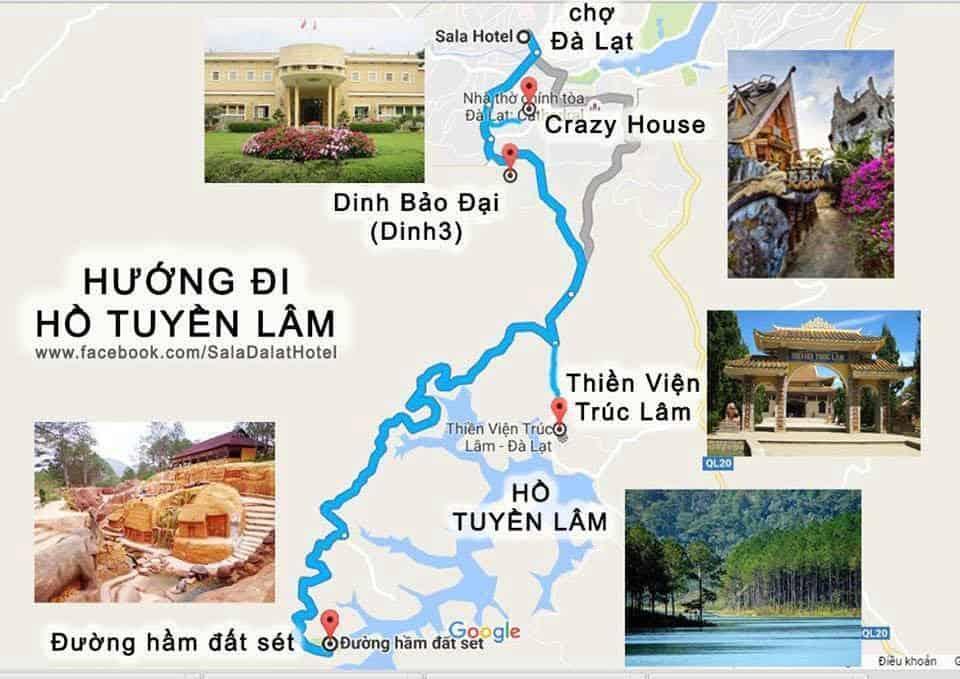 Hướng đi Hồ Tuyền Lâm
