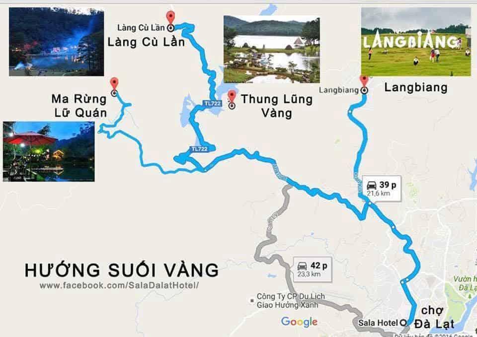 Bản đồ du lịch Đà Lạt Hướng đi Suối Vàng
